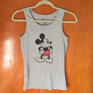 Disney Grey Mickey Mouse Tank Top - Size: M